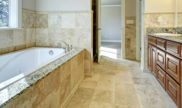 Minneapolis, MN remodeled bathroom, tile, tub replacement, granite, new vanity and updated electrical and plumbing