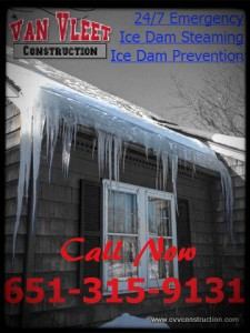 ice dam removal company picture with our phone # 651-315-9131, ice dam steaming