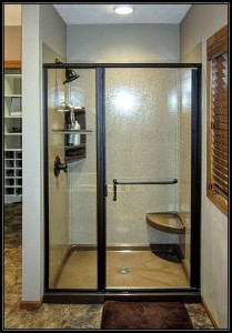 Minneapolis, MN walk in shower replacement, framed glass shower door, oil rubbed bronze