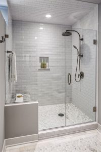 Tiled shower wall install.